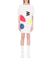 Chocoolate Abstract Grid Print Cotton Jersey Dress Whx