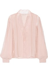 Alice Olivia Robbie Lace And Crinkled Chiffon Blouse Blush