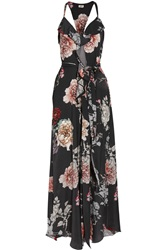L'agence Floral Print Washed Satin Maxi Dress Gray
