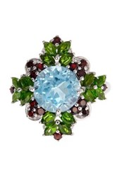Olivia Leone Sterling Silver Blue Topaz Chrome Diopside And Garnet Ring