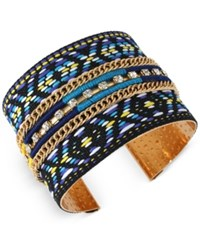 Inc International Concepts M. Haskell For Inc Gold Tone Chain Crystal And Woven Pattern Open Cuff Bracelet Only At Macy's Blue Multi