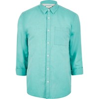 River Island Mensgreen Linen Rich Shirt