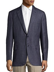 Brioni Check Long Sleeve Sportcoat Blue