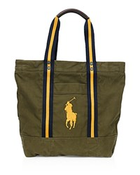 Polo Ralph Lauren Big Pony Canvas Tote Olive W Gold