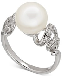 Macy's Freshwater Pearl 10Mm And Diamond 1 10 Ct. T.W. Twisted Ring In Sterling Silver