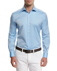Ermenegildo Zegna Summer Chambray Long Sleeve Sport Shirt Light Blue Men's