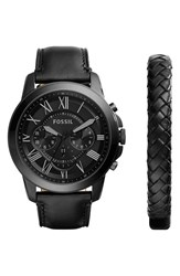 Men's Fossil 'Grant' Watch And Leather Strap Set Black Black