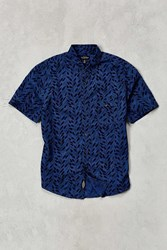 Cpo Woodblock Leaves Short Sleeve Button Down Shirt Navy