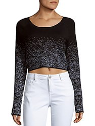 Bcbgmaxazria Embellished Long Sleeve Cropped Top Black White