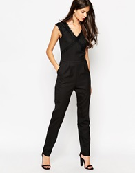 Girls On Film Jumpsuit With Lace Trim Black