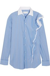 Maison Martin Margiela Ruffled Striped Cotton Poplin Shirt Blue