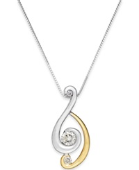 Sirena Diamond Swirled Two Tone Pendant Necklace 1 4 Ct. T.W. In 14K Gold