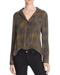 Bella Dahl Plaid Button Down Shirt Olive