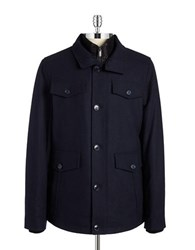 William Rast Wool Layered Walking Coat Dark Navy