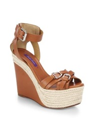 Ralph Lauren Finola Horsebit Leather Espadrille Wedge Sandals Brown