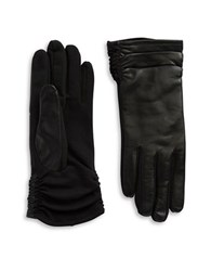 Lord And Taylor Ruched Leather Tech Gloves Black