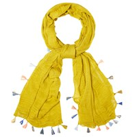 White Stuff Tassel Scarf Nectar Yellow