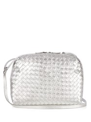 Bottega Veneta Nodini Intrecciato Leather Cross Body Bag Silver