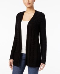 Karen Scott Lightweight Cable Knit Duster Cardigan Only At Macy's Deep Black