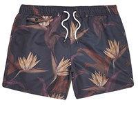 River Island Mens Purple Floral Print Swim Shorts