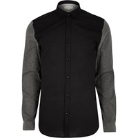 River Island Mens Black Jersey Sleeve Casual Oxford Shirt