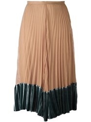 Valentino Pleated Contrast Hem Skirt Nude Neutrals