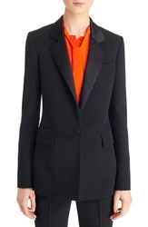 Givenchy Women's Satin Lapel One Button Wool Blazer Black