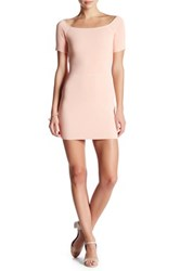 Endless Rose Square Neck Ribbed Bodycon Dress Pink