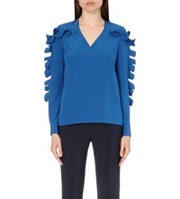 Victoria Beckham Ruffle Detail Silk Top Blue