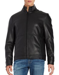 Calvin Klein Sherpa Lined Faux Leather Jacket Black
