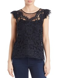 Elie Tahari Lace And Mesh Cap Sleeve Top Blue