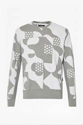 French Connection Tile Camo Crew Neck Sweatshirt Urban Grey