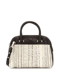 Milly Mercer Watersnake Combo Dome Satchel Bag White