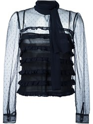 Red Valentino Sheer Tulle Blouse Black