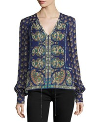 Nanette Lepore Long Sleeve Mixed Print Blouse Plum Multi