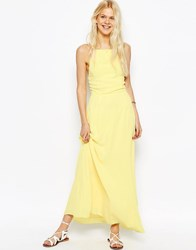 Asos Maxi Dress With Tie Back Yellow