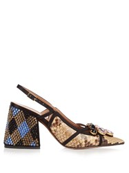 Marni Crystal Embellished Block Heel Python Pumps
