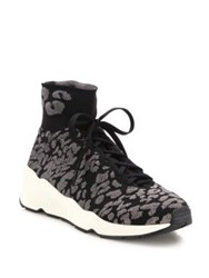 Ash Maniac Knit Leopard Print Wedge Sneakers Black Grey