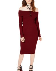 Miss Selfridge Rib Knit Bardot Dress Red