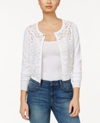 Maison Jules Lace Front Cardigan Only At Macy's Bright White