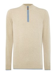Chester Barrie Plain Half Zip Neck Zip Fastening Jumper Sand
