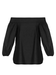 Tibi Off The Shoulder Long Sleeved Top Black
