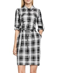 Vince Camuto Long Sleeve Plaid Shirtdress Black White