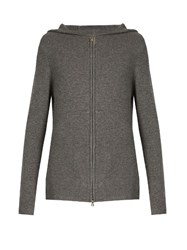 Denis Colomb Zip Through Hooded Cashmere Sweater Grey