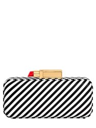 Lulu Guinness Striped Leather Clutch With Lipstick