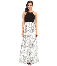 Aidan Mattox Long Halter Neck Column With Lace Ball Gown Skirt Ivory Black Women's Dress Multi