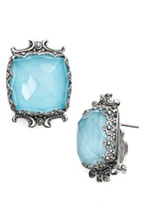 Konstantino Women's 'Aegean' Clip Earrings Silver Blue Rock Crystal