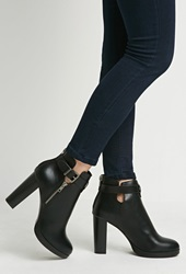 Forever 21 Faux Leather Ankle Booties Black