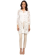Nic Zoe Glazed Mesh Jacket Milk White Women's Blouse