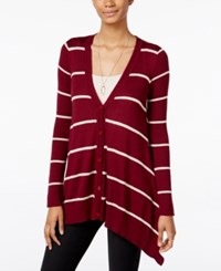 Hippie Rose Juniors' Handkerchief Hem Cardigan Retro Maroon Combo